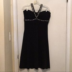 Little black dress with rhinestone halter. Size 16